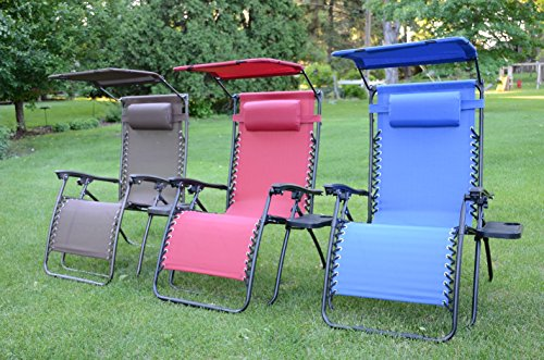 Deluxe Oversized Extra Large Zero Gravity Chair with Canopy + Tray - Blue by Styled Shopping