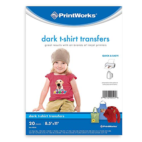 (Printworks Dark T-Shirt Transfers for Inkjet Printers, For Use on Dark and Light/White Fabrics, Photo Quality Prints, 20 Sheets 8 ½