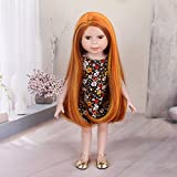 STfantasy American Girl Doll Wig Long Wavy Ombre Orange Highlights Curly Synthetic Hair for AG Doll Bald Head