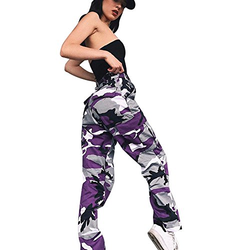 (WENSY Women's Sports Camouflage Printed Sweatpants Outdoor Casual Camouflage Pants Jeans Harem Pants Trousers(Purple, L))