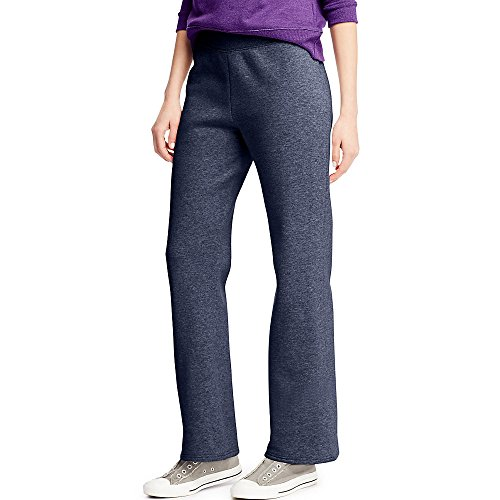 Hanes ComfortSoft Women's Petite Open Bottom Leg Sweatpant_Nv HTR_XL