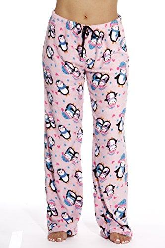 6339-10126-M Just Love Women's Plush Pajama Pants - Petite to Plus Size Pajamas,Pink - Penguin Love,Medium