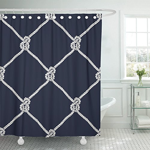 TOMPOP Shower Curtain Nautical Rope Pattern Endless Navy White Fishing Net Waterproof Polyester Fabric 72 x 72 Inches Set with Hooks ()