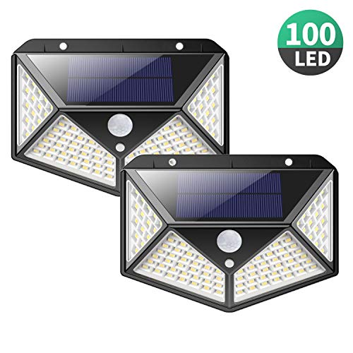 Solar Lights Outdoor [100 LEDs],Yacikos IP65 Waterproof Wireless Motion Sensor Lights,270°Wide Angle,Easy-to-Install Security Wall Lights with 3 Modes for Yard,Stairs,Garage,Fence,Porch(2 Pack) by Yacikos (Image #7)