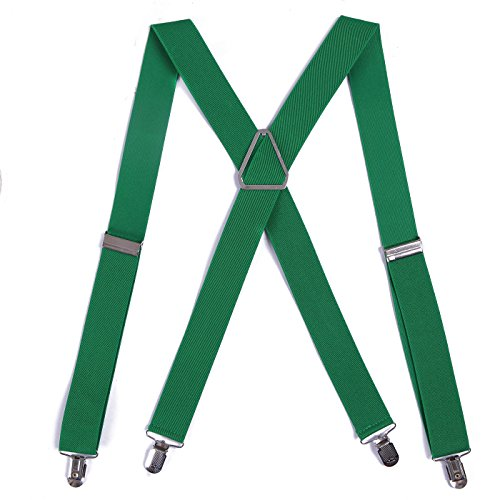 HDE Mens Solid X-Back Suspenders - 1.5 Inch Adjustable Straight Clip On Braces (Dark Green, 42 inches)