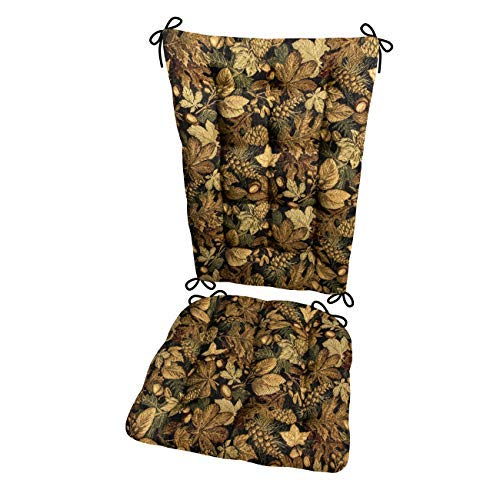 Woodlands Forest Floor Rocking Chair Cushions - Size Extra-Large - Latex Foam Filled Seat Pad & Back Rest (Oak Leaves/Acorns/Pine Cones)