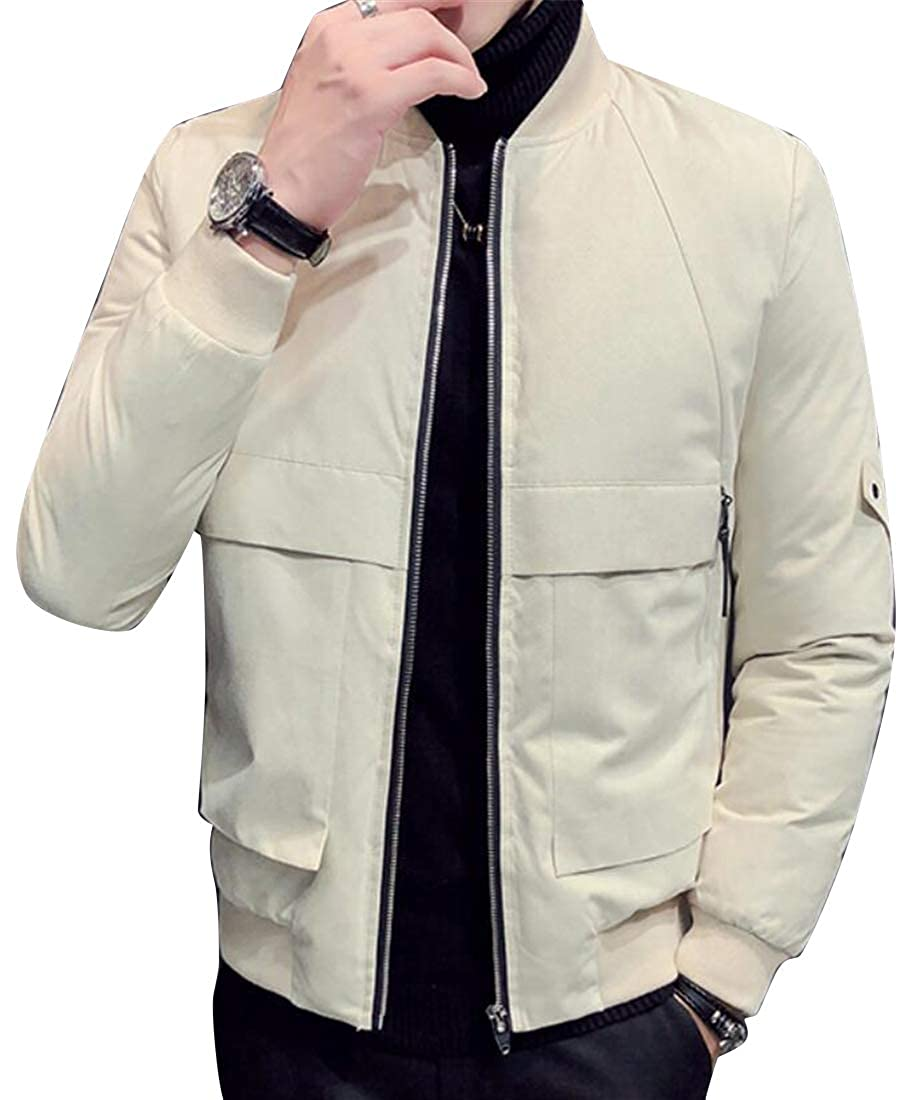 YYG Men Fashion Warm Mandarin Collar Regular Fit Thicken Quilted Zip Up Solid Color Down Coat