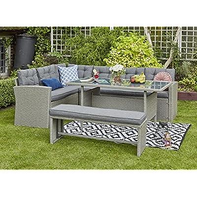 YAKOE Grey Rattan 8 Seater Corner Dining Sofa Set