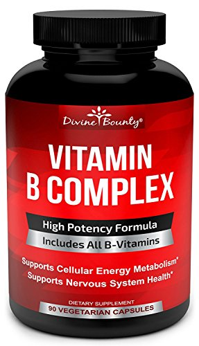 Super B Complex Vitamins ALL B Vitamins Including B12, B1, B2, B3, B5, B6, B7, B9, Folic Acid Vitamin B Complex Supplement for Stress, Energy and Healthy Immune System 90 Vegetarian Capsules