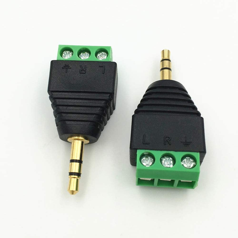 Mercury/_Group 100Pcs Video AV Balun 3.5mm 1//8stereo male to AV Screw Terminal Stereo jack 3.5 mm male 3 pin Terminal Block Plug connector Audio Plugs