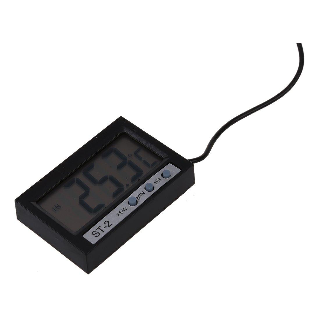 TOOGOO Termometro Digitale Lcd Misuratore Di Temperatura Celsius Orologio Esterno Interno Con Sonda St-2