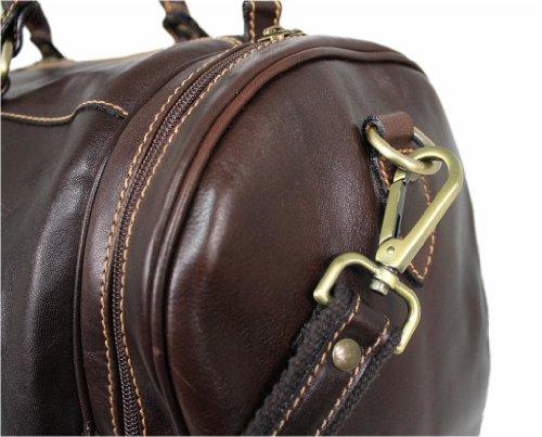 Leder Reisetasche Wochenendetasche Sporttasche Weekender MARRONE SCURO 05828