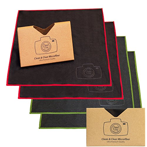Clean & Clear Microfiber EXTRA LARGE [4 Pack] ULTRA PREMIUM QUALITY Lens Cleaning Cloths - Camera Lens, Glasses, Screens, and all Lens.