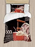 MAIANNE Movie Theater Twin Size Duvet Cover Set, Objects The Film Industry Hollywood Motion Picture Cinematography Concept, Decorative 4 Piece Bedding Set 2 Pillowcases, Multicolor