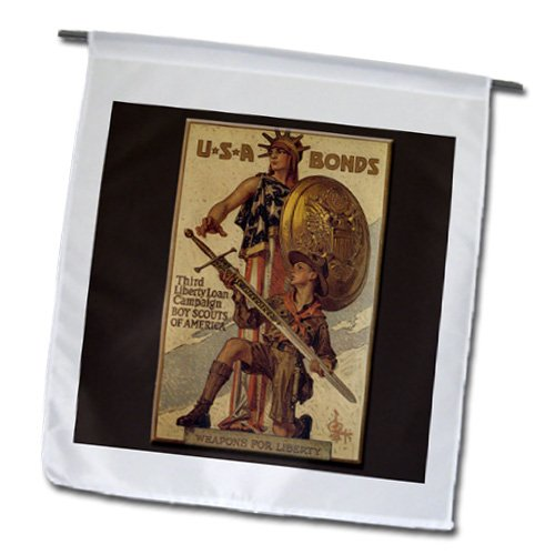 3dRose BLN Vintage World War I and World War II Posters - Vintage USA Bonds Third Liberty Loan Campaign Boy Scouts of America - 18 x 27 inch Garden Flag (fl_149392_2)