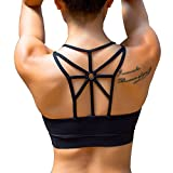 Blisstime Padded Sports Bra Strappy Criss Cross Back Workout Yoga Sports Bras for Women X-Large Black For Sale