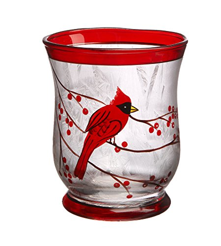 Cardinal on Berry Branches Glass LED Lights 3.5 x 4.25 Inch Light Up Candle Holder