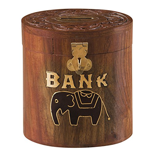 Rusticity Wooden Piggy Bank / Coin Bank Oval - Elephant Design | Handmade | (4x3.5x4.5 - Design India Elephant