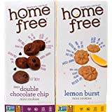 Home Free Gluten-Free Non-GMO Mini Cookies 2 Flavor Variety Bundle: (1) Double Chocolate Chip, and (1) Lemon Burst, 5 Ounces (2 Boxes)