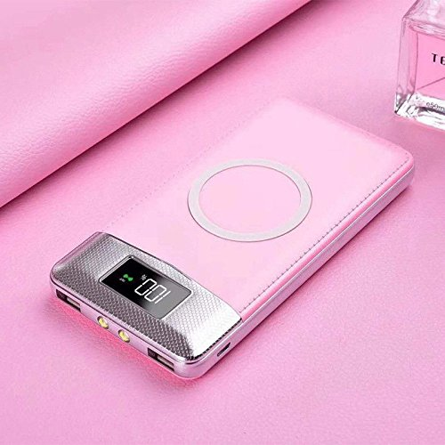 Lanlan portátil 10000mAh Banco de la energía QI cargador inalámbrico 2Puerto USB Carga Rápida Cargador Batería...