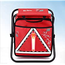 Multifunction Folding Chair Car Refrigerator With Backpack LED Warning Triangle For Outdoor (Red)
