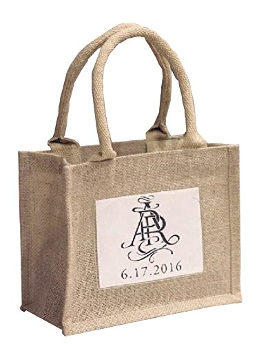 Mini Jute Gift Tote Bags w/Clear Pocket for Wedding Favors, Crafts, Decorations (6) ()