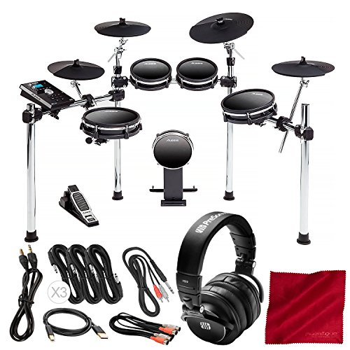 AlesisDM10 MKII Studio Kit, Nine-Piece Electronic Drum Kit with Mesh Heads Bundled with PreSonus HD9 Monitoring Headphones, Cables, and Microfiber Cloth