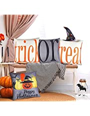 INAROCK Halloween Pillow Covers Set of 4 Trick or Treat Fall Pillow Covers 18x18 Fall Throw Pillow Covers 18x18 Halloween Throw Pillow Covers, Halloween Decorations for Sofa, Couch, Home, Indoor