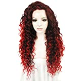 Imstyle® Extra Long Cosplay Red Mix Auburn Cosplay Curl Heat Resistant Synthetic Lace Front Wig