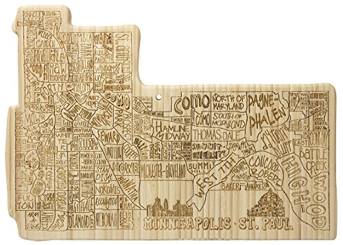 Totally Bamboo City Life Serving Board, Minneapolis, 100% Bamboo Board for Serving and Entertaining