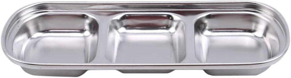 LJSLYJ 3 Gitter Edelstahl Diving Dish Kr/äuter Essig Sauce Teller Snack Platte Gew/ürz Geteilt Serviertablett Home Kitchen Geschirr