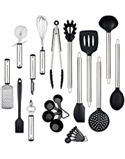 Kitchen Utensil Set, 23 Nylon Cooking Utensils Stainless Steel and Silicone Utensils Set Cooking Gadgets Set for Nonstick Cookware