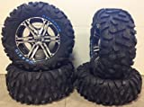 Bundle - 9 Items: ITP SS212 14'' Wheels Machined 26'' BigHorn Tires [4x156 Bolt Pattern 12mmx1.5 Lug Kit]