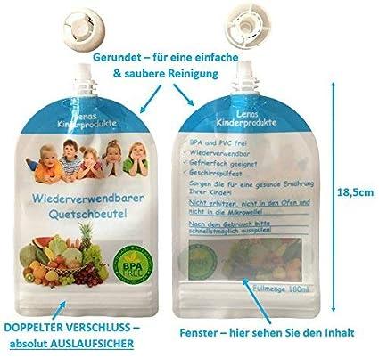 180 ml 6//12//20 x 180 ml gourdes r/éutilisables en Sans BPA et sans PVC B/éb/é Petit Enfant soi-m/ême avec gekochten Essen L/égumes Brei versorgen R/égime