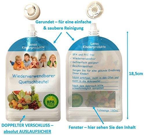 libre de BPA /& PVC 6//12//20 x 180 ml reutilizables quetschb absorber Congelador /& apto para lavavajillas NUTRICI/ÓN 180 ml Baby peque/ño,con gekochten comida Alimentan