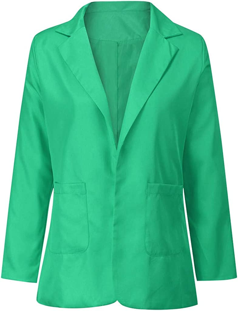 ALOVEMO Blazers for Women,Long Blazer Work Office Stretchy Open Front Lapel Jacket Solid Color Blazers S-5X