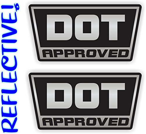 REFLECTIVE - DOT Approved Motorcycle Helmet Stickers | D.O.T. Bike Safety Decals | Hard Hat Labels | 2-pack