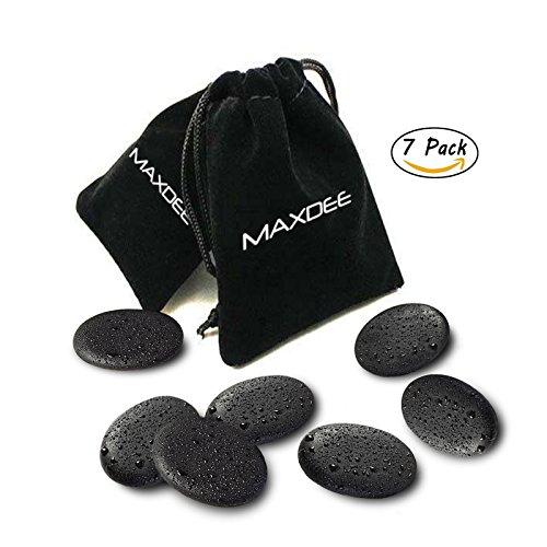 Set of 7 Small Massage Stones - Maxdee Smooth Massage Lava Natural Stone Set Basalt Hot Spa Rocks Stones, 1.2 In x 1.6 In (Rocks Basalt)