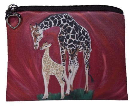 Vegan Change Purse, Coin Purse - Animals - From My Original Paintings - Support Wildlife Conservation, Read How (Giraffe - Full Circle)