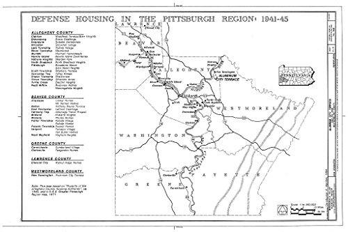 Structural Drawing Map of Defense Housing in The Pittsburgh Region: 1941-45 - Aluminum City Terrace, East Hill Drive, New Kensington, Westmoreland County, PA 66in x 44in