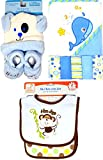 Baby Gift Newborn Boy 10 Piece Combo Pack of Blue Baby Hat and Booties Baby Bib and Burb Cloth 5 Washcloths and 1 Hooded Towel This Makes an Excellent Baby Shower Gift For Boys
