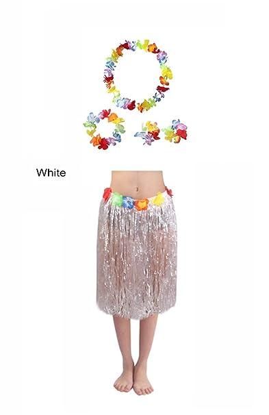 adfb150e0 Anam - falda de hierba, estilo hawaiano, con 4 guirnaldas de flores  hawaianas, para bailar Hula, fiesta de disfraces, despedidas de soltera,  fiestas ...