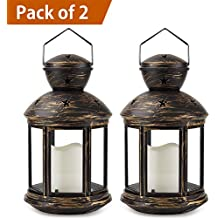 Bright Zeal /Pack of 2/ Bronze Hexagon Decorative Lantern with LED Candle - LED Lanterns Battery Operated Decorative - Hanging Candle Lanterns Indoor - Outdoor Lanterns Decorative Vintage Lantern