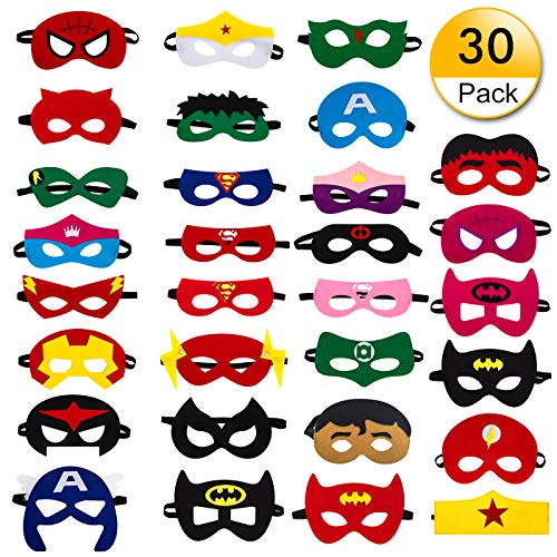 30pcs Superhero Felt Masks for Kids Party Cosplay Superhero Masks with Elastic Rope Party Favors Mask for Birthday Gifts -