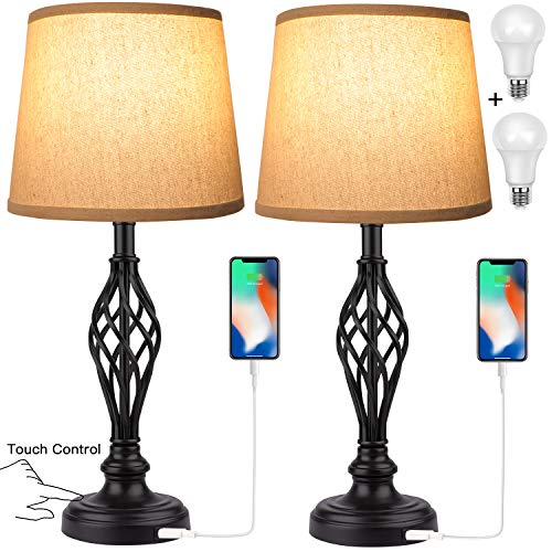 Touch Control Traditional Table Lamp Set of 2, Vintage Bedside Lamps with USB Charging Port, 3-Way Dimmable Large Cream…