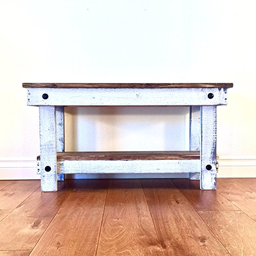 Rustic Handcrafted Reclaimed Bench - Easy Self Assembly - Natural & White - Bench Shabby