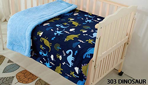 Elegant Home Kids Soft & Warm Multicolor Fun Dinosaurs Design Sherpa Baby Toddler Boy Blanket Printed Borrego Stroller or Baby Crib or Toddler Bed Blanket Plush Throw 40X50 (Dinosaur) by Elegant Homes