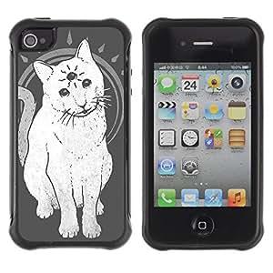 Hybrid Anti-Shock Defend Case for Apple iPhone 4 4S / Mystical Three Eye Cat