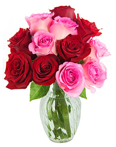 KaBloom Romantic Red and Pink Rose Bouquet of 6 Red Roses and 6 Pink Roses with - Is Delivery Day Special Next