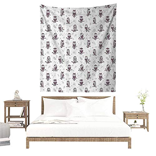- alisoso Wall Tapestries Hippie,Owl,Cartoon Style Illustration of Cute Owls on The Branches Mysterious Woods Print,Eggplant White W32 x L32 inch Tapestry Wallpaper Home Decor